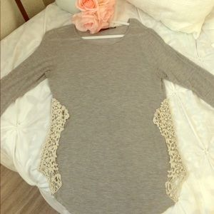 3/4 sleeve side lace trim shirt